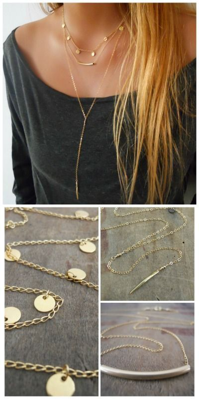 A beautiful and trendy triple gold necklace set.