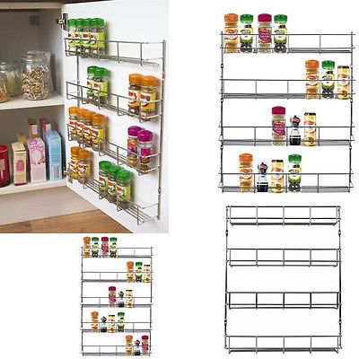 Wall-Mount-Storage-Kitchen-Shelf-Pantry-Holder-Door-Spice-Rack-Cabinet-Organizer