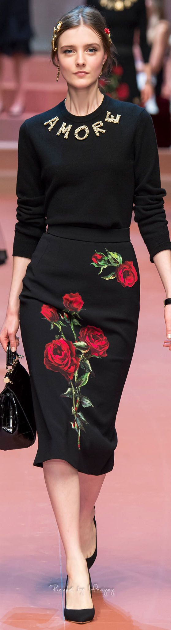 Dolce & Gabbana.Fall 2015.~I loved wearing sweaters and slim skirts in the 60's~