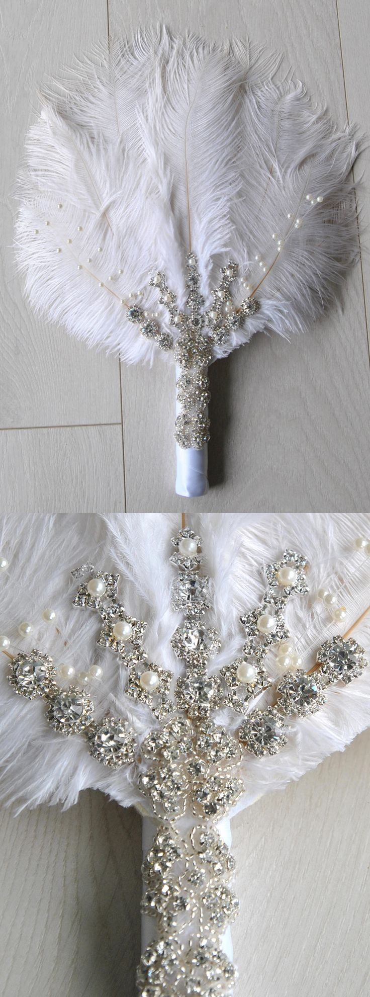 Bridal alternative Ostrich Feather Fan Bouquet Great Gatsby 1920s Art deco boho wedding. Downton Abbey Roaring 20s Party theme. Birthday, Weddings, Christmas Party ideas. Boutonniere for men available. #weddings #gatsby #roaring20s #gatsbyparty #affiliatelink #featherfan #bouquet #etsyfinds