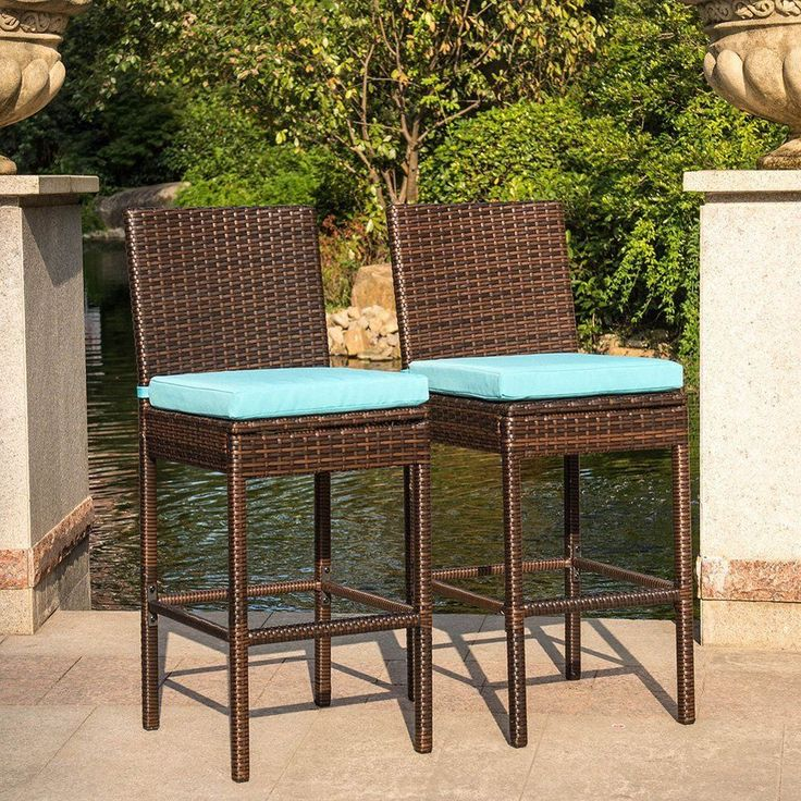 Patio Dining Chairs Outdoor Rattan High Stools Furniture Comfort Sitting Cushion #PatioDiningChairs #ElegantAntiqueLook