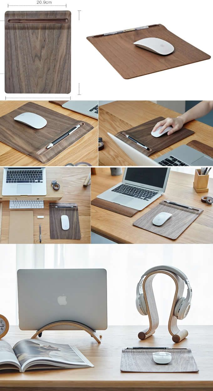 Bamboo Wooden Mouse Pad Single Pen Pencil Case Holder  Cool desk