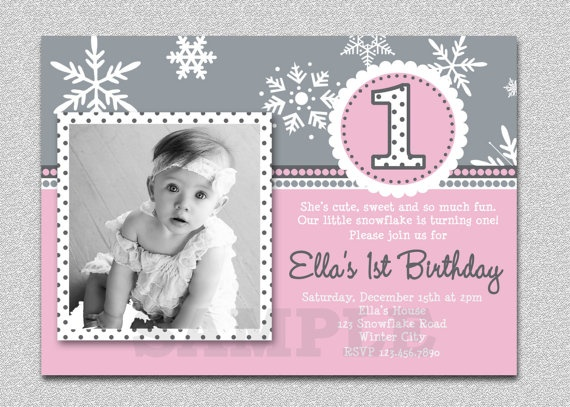 42 best kayla's 1st bday - winter onederland theme images on, Birthday invitations
