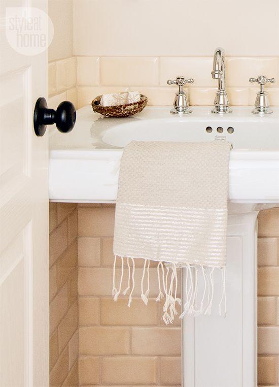 Bathroom decor pretty peach powder room mosaic tiles for Peach tile bathroom ideas