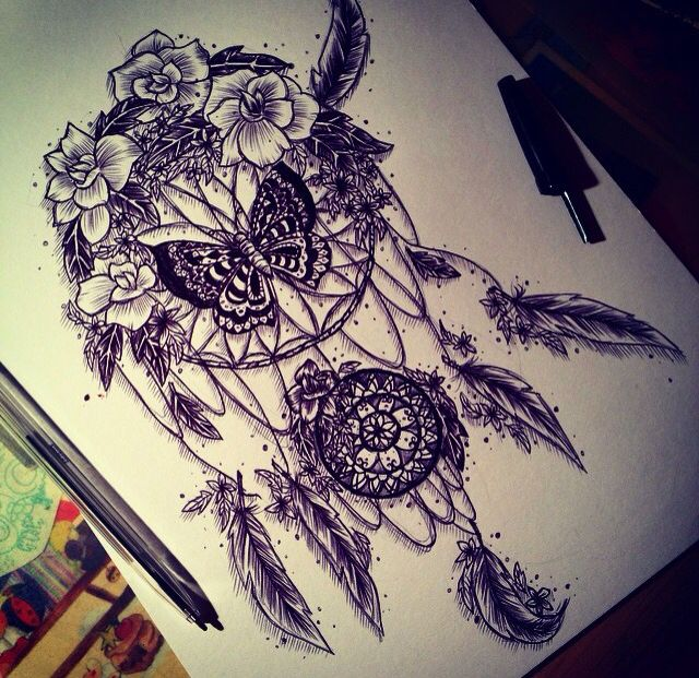 INSTAGRAM: linyinwonderland   ..................................................dreamcatcher drawing traumfänger hippie girl hipster tumblr tumblrstyle hipsterstyle feather tattoo design