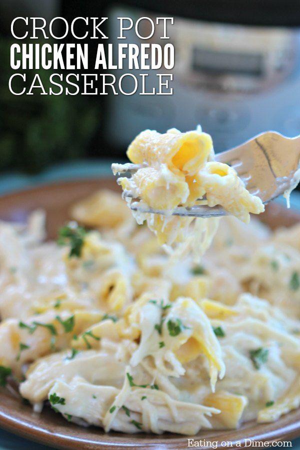 easy crock pot chicken alfredo casserole