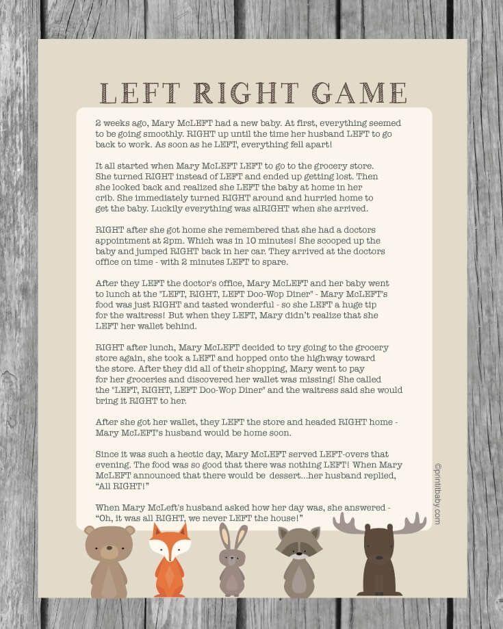 printable left right baby shower game woodland animal theme so rh pinterest co uk