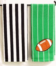 Game Day Dish Towel set of 2 green football & referee You get one of each design for only $12.99 at www.laraines.com