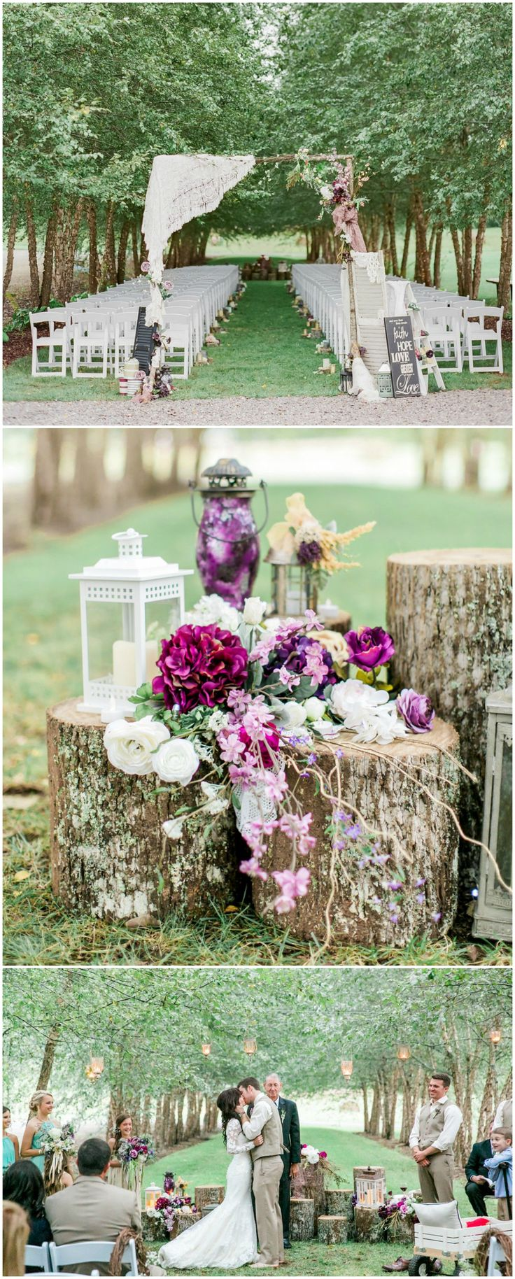we would like to invite you celebrate our wedding in december0th%0A Rustic outdoor wedding ceremony  purple florals  tree stumps  white  lanterns  arbor draped