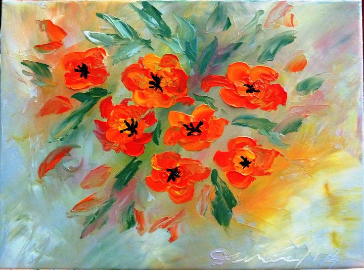 "Oil on canvas, knife painting ""Poppies"""