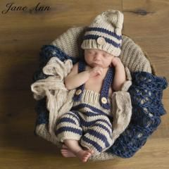 [ 22% OFF ] Newborn Baby Photography Props Infant Knit Crochet Costume Blue Striped Soft Outfits Elf Button Beanie+Pants Baby Shower Gift