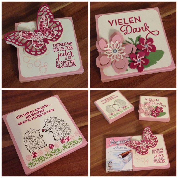 Kleine Geschenke erhalten die Freundschaft! Yogurette Verpackung als kleines Geschenk mit Stampin Up Pflanzen-Potpourri, Love you lots, Thinlits Schmetterlinge und Von großer Bedeutung!
