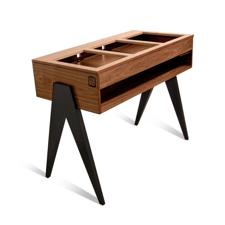 Atocha Design DJ Stand, Walnut with Ebonized Walnut Legs. Available in Battle Style or Classic.