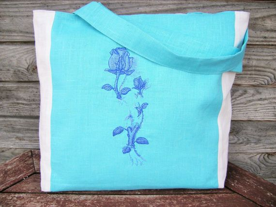 White and Blue Linen  Embroidered tote bag Tote bag Canvas