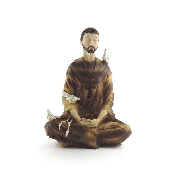 São Francisco de Assis Largura x Altura x Profundidade: 14 x 19 x 9 cm Peso: 430 g Material: resina Acabamento: colorido Origem: Ásia