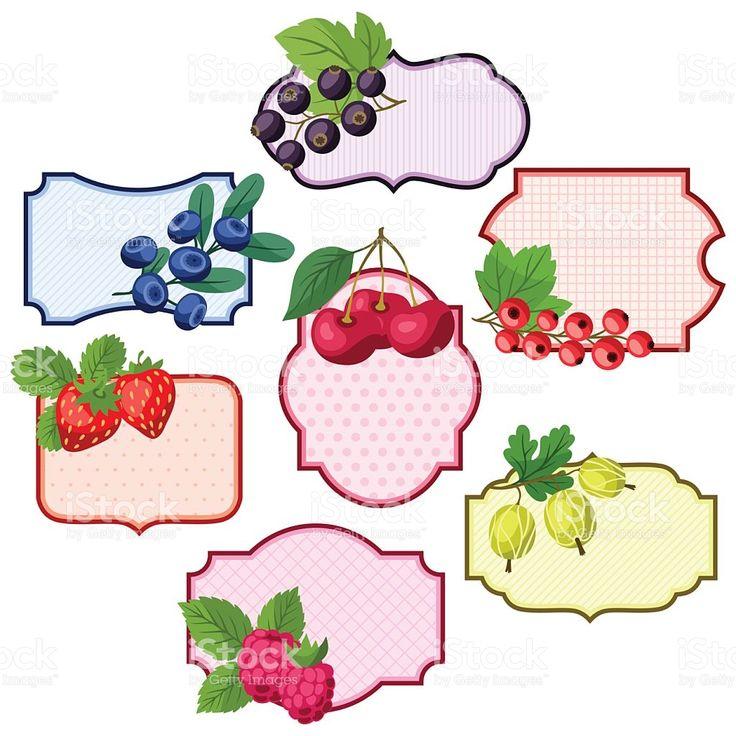 Conjunto de emblemas, de vários rótulos com frutas silvestres. vetor e ilustração royalty-free royalty-free