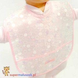 Śliniak Eva z kieszonką A0183 różowy #dziecko #fartuszek #sliniak #karmienie #baby #feeding #food #eating #bib #pink #cute