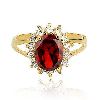 nagykereskedelmi Kate hercegnő ajándék eljegyzés báj ékszerek karácsonyi ajándék nők aranyozott vörös cz hölgy gyűrű – USD $ 4.99