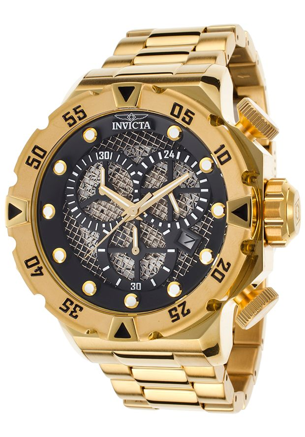 Invicta 19182 Watches,Men's I-Force Chronograph 18K Gold Plated Stainless Steel Black Dial, Sport Invicta Quartz Watches