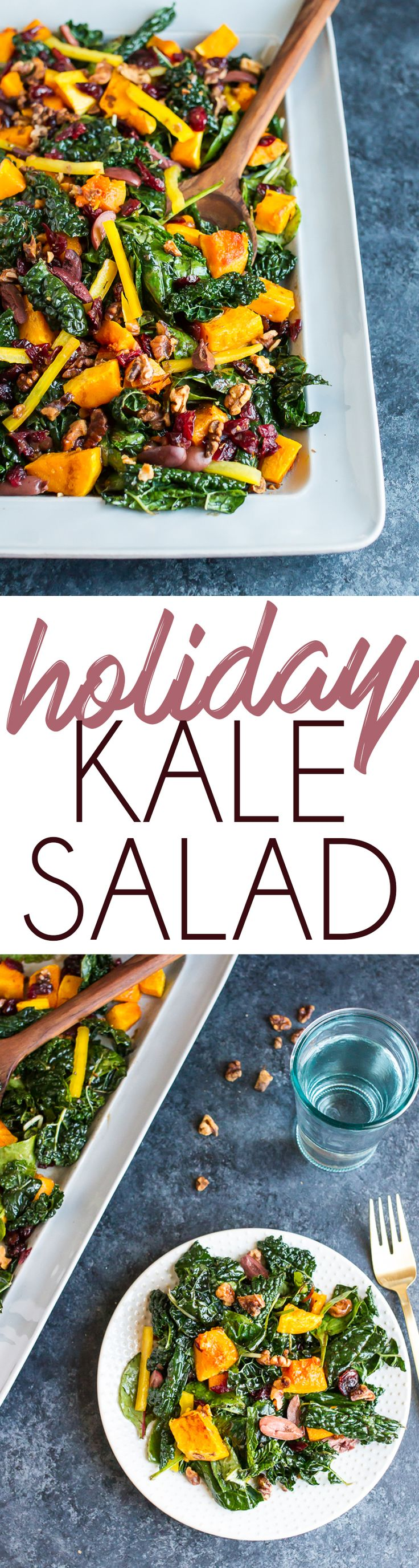 Holiday Kale Salad with Roasted Butternut Squash, Kalamata Olives, Walnuts and Dried Cranberries.