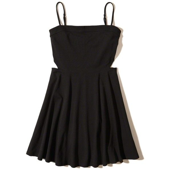 Hollister Cutout Knit Skater Dress (£33) ❤ liked on Polyvore featuring dresses, black, side cut-out dresses, circle skirt, strappy skater dress, cutout dresses and cut-out skater dresses
