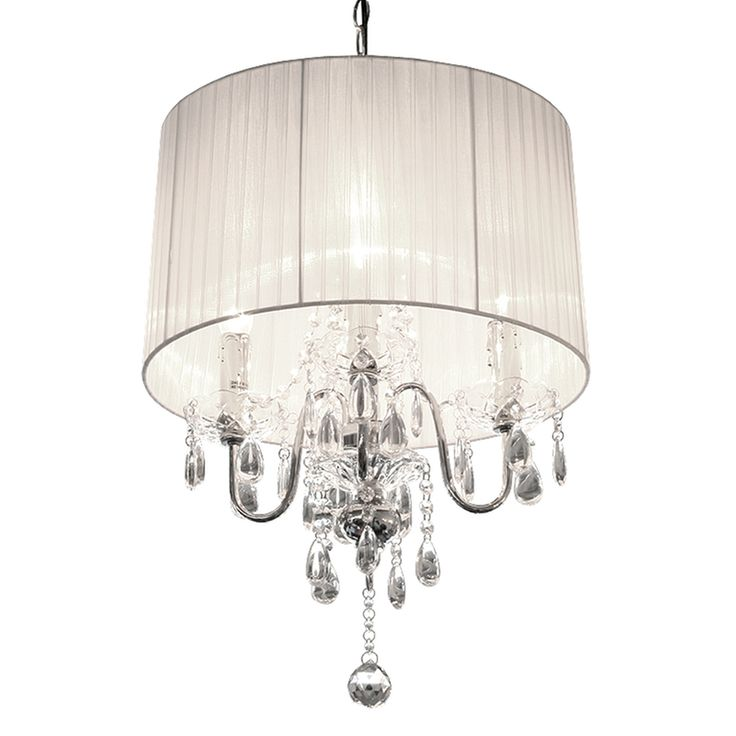 Beaumont White 4 Light Chandelier, modern chandeliers & lighting available from www.serendipityhomeinteriors.com