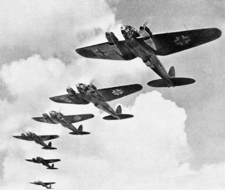 German Luftwaffe Heinkel He 111 bombers during the Battle of Britain