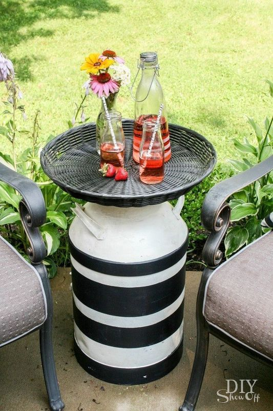 25 best ideas about milk can table on pinterest painted for Repurposed milk cans
