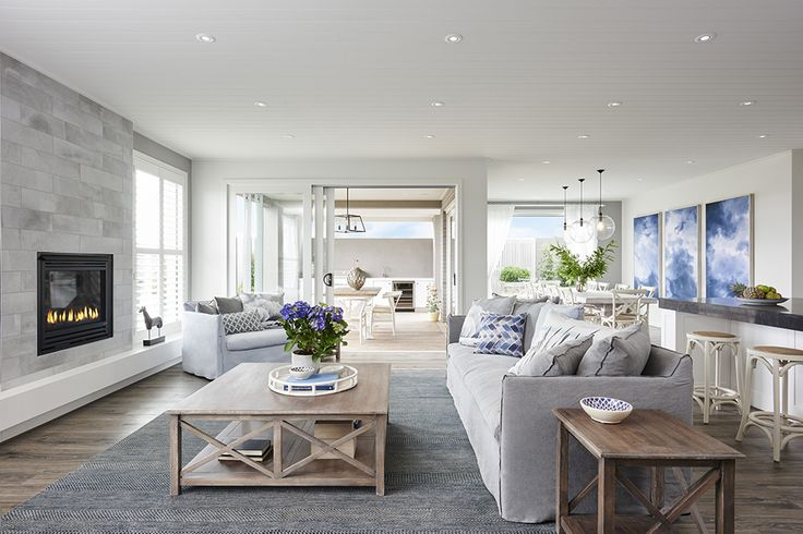 Hamptons Inspired.. The Montauk 49 Display by Boutique Homes VIC. #newhome #building #design #styling #boutiquehomes #homedecor #interiordesign #hamptons #living #fireplace #familyroom #weeklyhometrends  http://www.boutiquehomes.com.au/