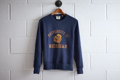 Tailgate Michigan Crew Sweatshirt by  American Eagle Outfitters | At a capacity of over 100k, the Wolverines play in the largest football stadium in the nation. Plus, they boast the most overall wins in NCAA history and won the very first Rose Bowl. Shop the Tailgate Michigan Crew Sweatshirt and check out more at AE.com.