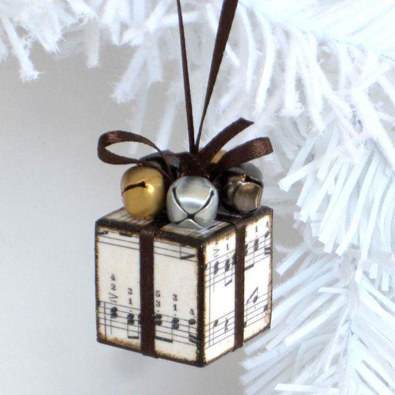 Small Ornament Christmas Ornament Sheet Music Brown and Gold Christmas Present Christmas Package Decoration Jingle Bells