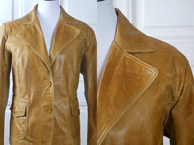Women's Leather Jacket, Swedish Vintage Camel Color Leather Coat, European Butterscotch Tan Short Leather Jacket: Size 14 US, 18 UK by YouLookAmazing on Etsy