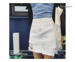 Pakaian Wanita Rok White Denim Net (24848)
