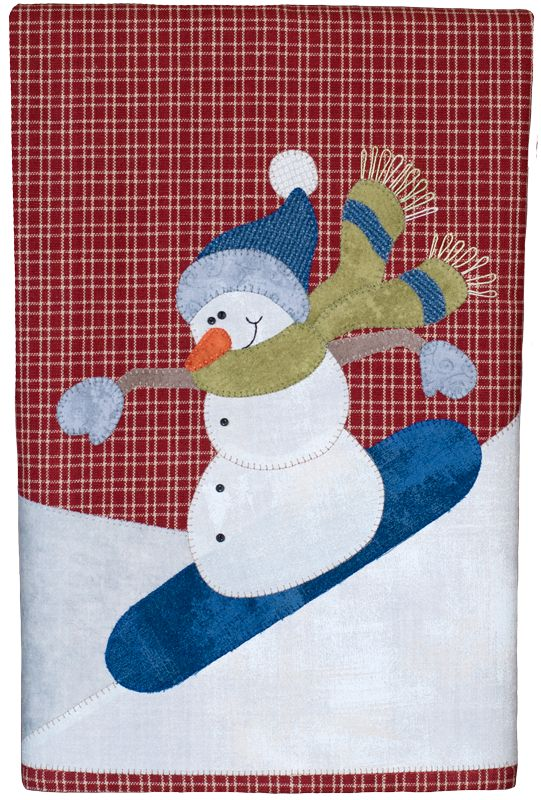 P27 Snowboarding Snowman Patternlet- Tea towel design with micro mini buttons for eyes and coal, and pearl cotton thread stitched for scarf ends