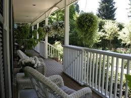 Simple porch railing, with gated stairs.