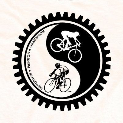 Bicycle T-shirt Cycling Yin-Yang Mountain Bike and Road Cycling Black and White. $24.95, via Etsy.