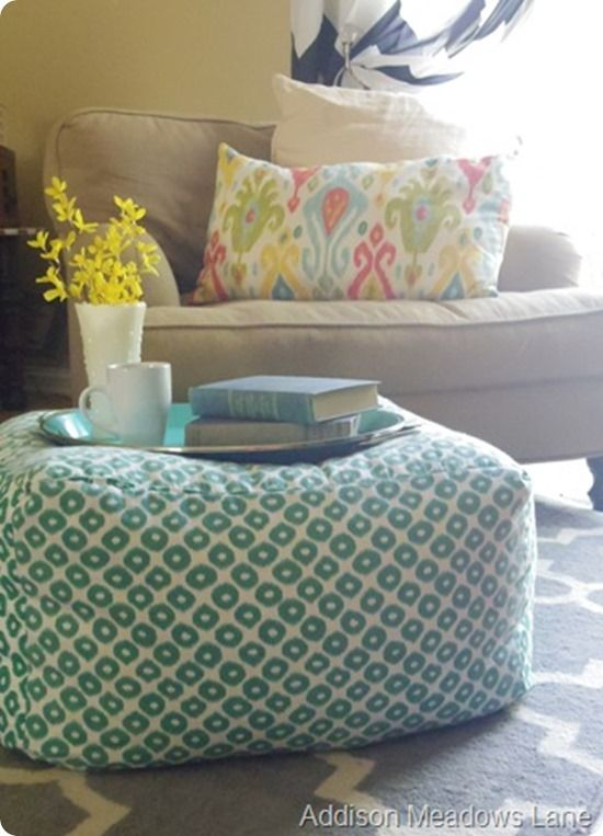 DIY Pouf ~ Make an oversized floor pouf inspired by West Elm using three yards of fabric and bean bag filling. It's super easy!