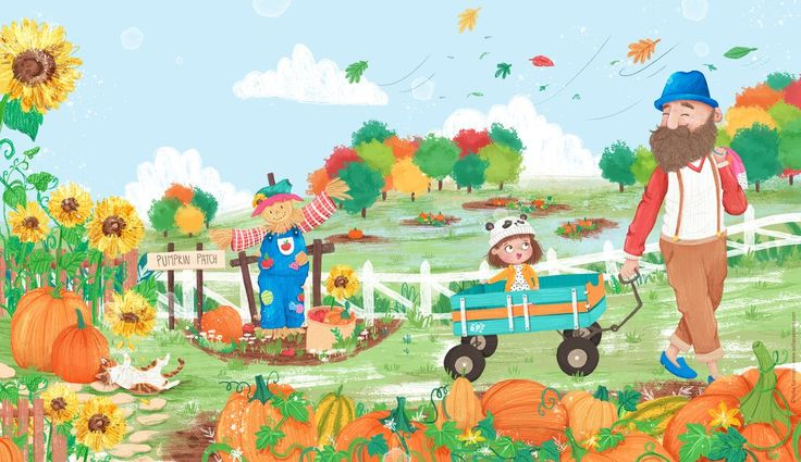Pumpkin Patch - Sofia Cardoso for Babybug Magazine @CricketMediainc #kidlitart #kidlit #illustration #autumn