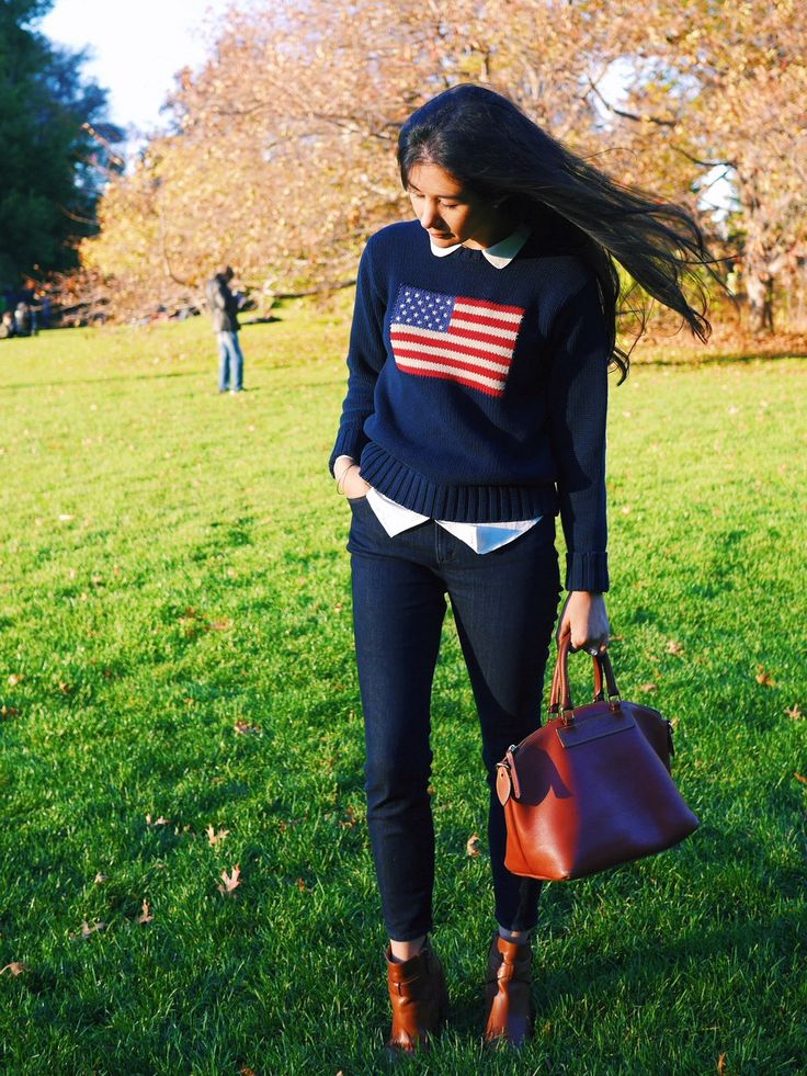 The Power Of A Standout Sweater: Ralph Lauren American Flag Sweater, LOFT Skinny Jeans, Everlane Silk Shirt, Cole Haan Ankle Boots, Dooney And Bourke Purse, Barbour Jacket