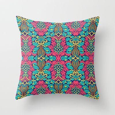 Damask on Dot Throw Pillow by Geetika Gulia - $20.00