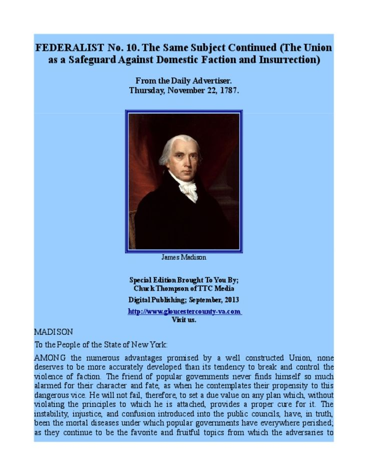 Federalist Papers No 10 Union as a Safeguard Against Domestic Insurrection by Chuck Thompson via slideshare
