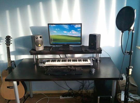 Cheap DIY Ikea Home Studio Desk. I am so doing this. My editing desk