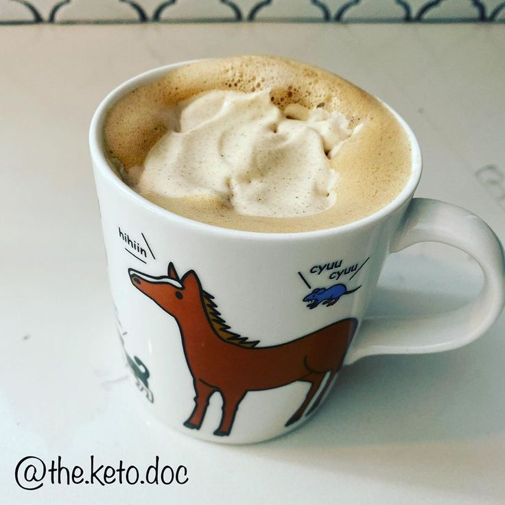 Keto pumpkin spice cold foam over hot coffee with