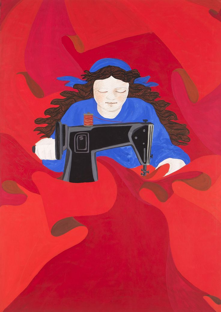 Gülsün Karamustafa First of May (Woman Constantly Sewing Red Flags with her…