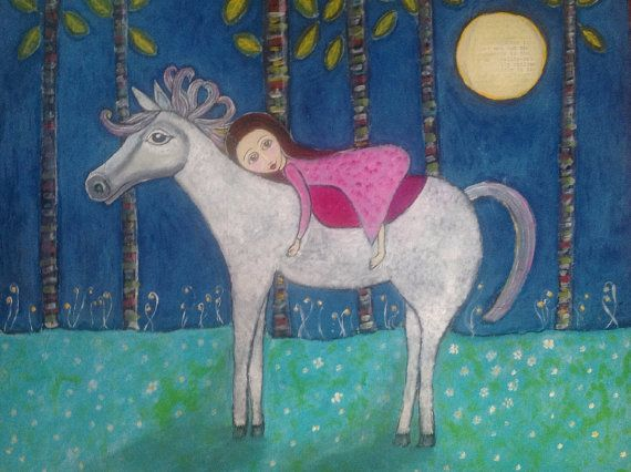 Horse & Girl Illustration Print  Grateful by JeanetteMacDonaldArt, $21.95