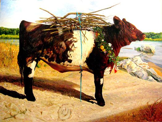 Kermit Oliver - The Red Heifer, 2008 Acrylic on panel, 39 1/2 x 51 1/2""