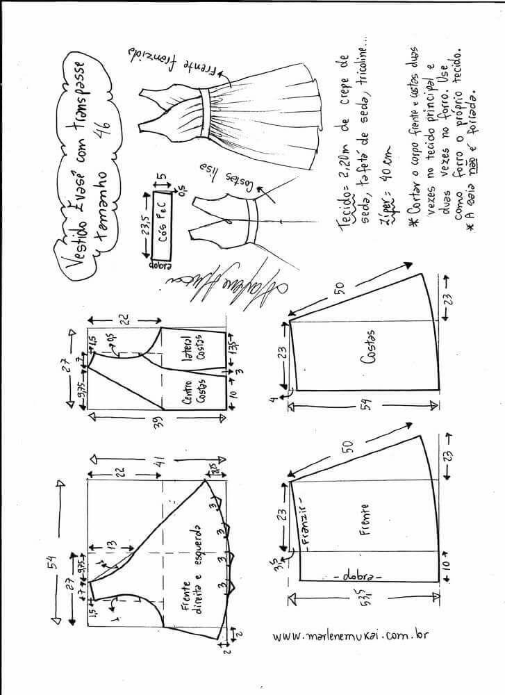 Patrón vestido cruzado con falda acampanada | MOLDES | Sewing ...