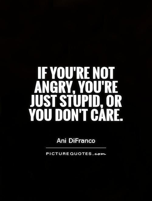 If you're not angry, you're just stupid, or you don't care. Stupid quotes on PictureQuotes.com.