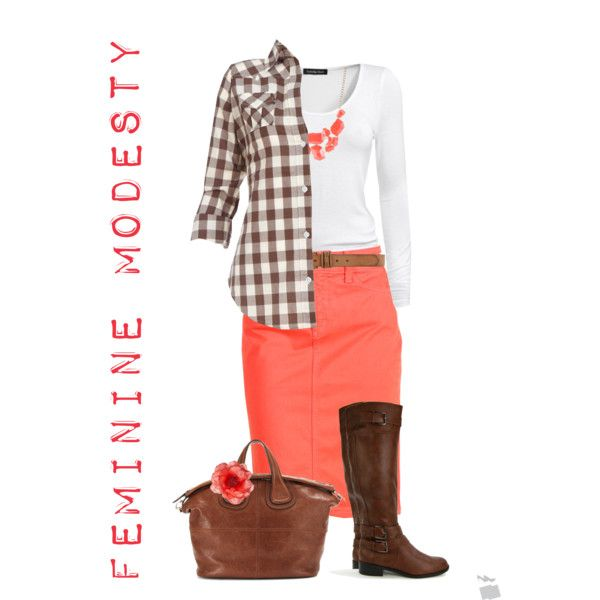 Peach & Brown- minus the plaid and maybe add heels