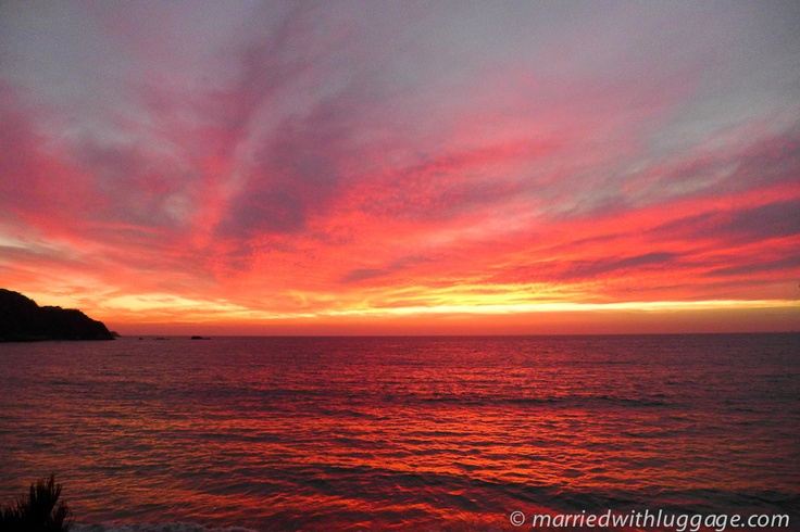 While in Barra de Navidad, Mexico we captured the sunset lighting the sky and sea on fire. It made for a perfect view to sit and admire.